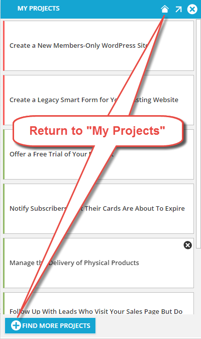 Return to My Projects List