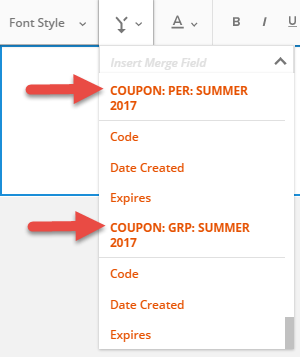 Coupon codes knowledge base ontraport the image below highlights two coupon codes each labeled summer 2017 it would be difficult to tell which one is personal or which one is group if not for fandeluxe Choice Image
