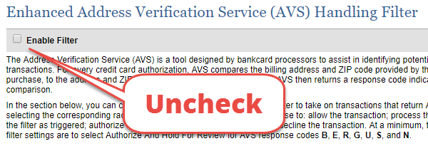 address verification checkbox should be unchecked