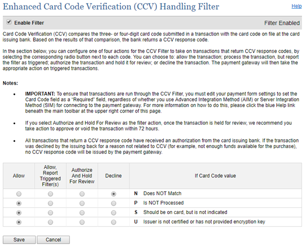 Settings for the Enhanced Card Code Verification filter