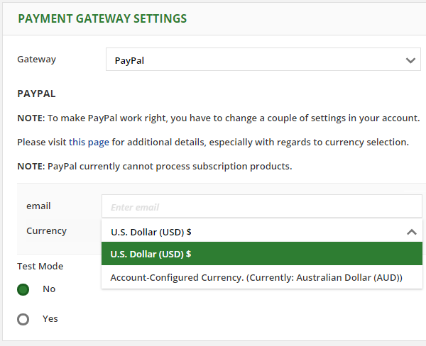 Choosing your currency in the PayPal configuration screen