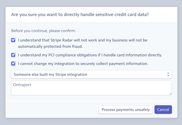 Turn off tokenization and let Stripe know it is an ONTRAPORT integration