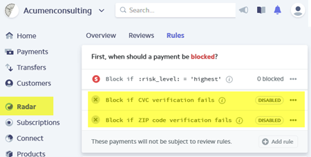 disable CVC verification in Stripe