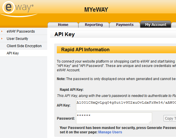 eWAY API Key and Password
