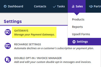 Sales Settings for Gateways