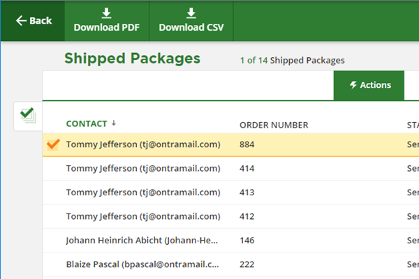 shipped packages allows downloading of packing slips