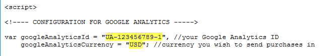 Edit the Google Analytics ID and currency code in the script