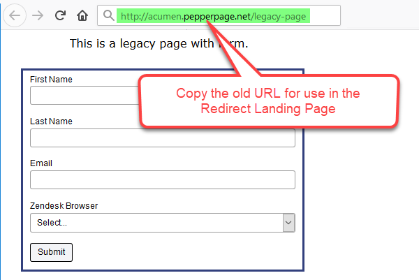 Copy the old URL for use in the redirect page later