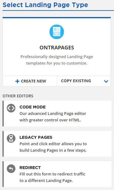 select landing page type