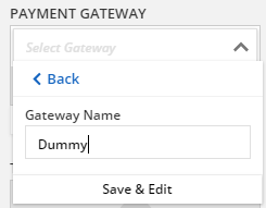 Select the Create Payment Gateway link in the drop down