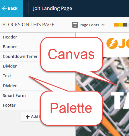palette and canvas in ONTRApages