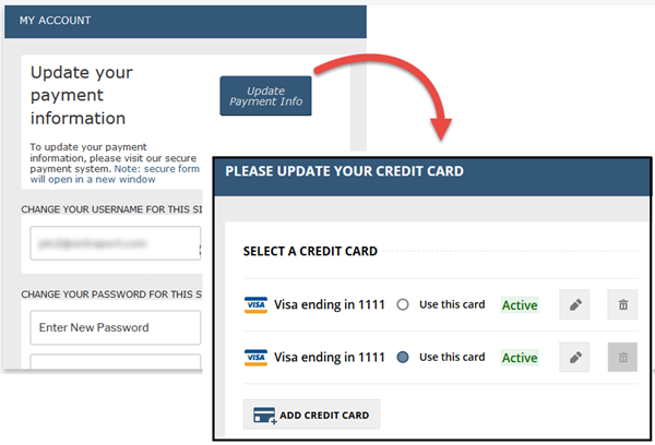 Manage credit cards in the Customer Center in PilotPress
