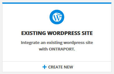 Click Create New to add a new entry for an existing WordPress site