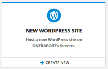 Click the Create New link in the New WordPress Site icon