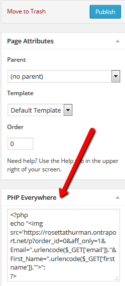 PHP Everywhere Code Box is in the right column in WordPress
