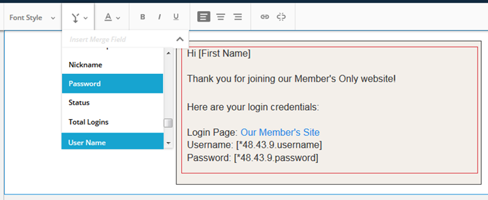 Email sending WordPress credentials
