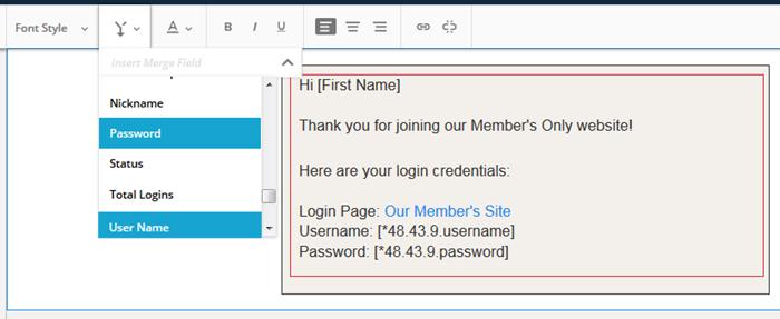 Email sending WordPress credentials