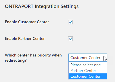 enable the customer center and partner center, and specify which has priority