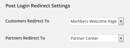 the post login redirect settings