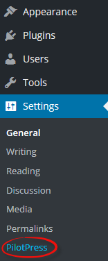 PilotPress settings appear in the regular WordPress Admin sidebar menu