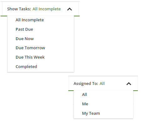 show tasks and assigned to drop downs