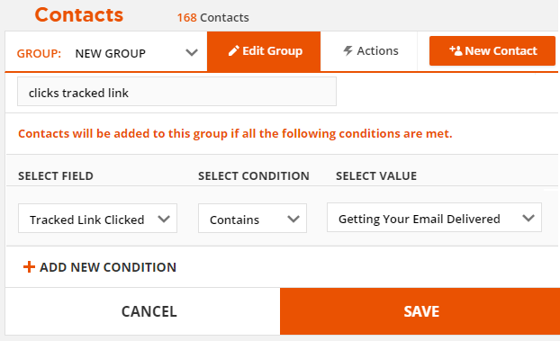 Use click tracked link as a group condition