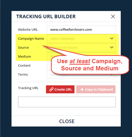 create the tracking URL