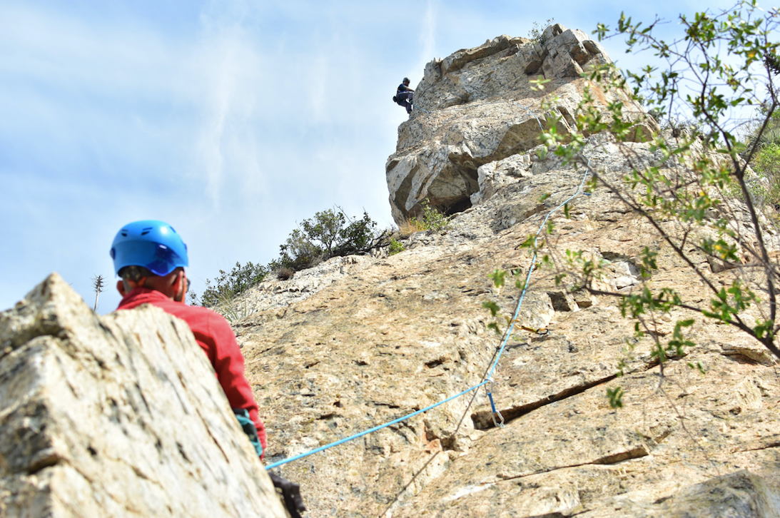 outdoor adventure guide leading