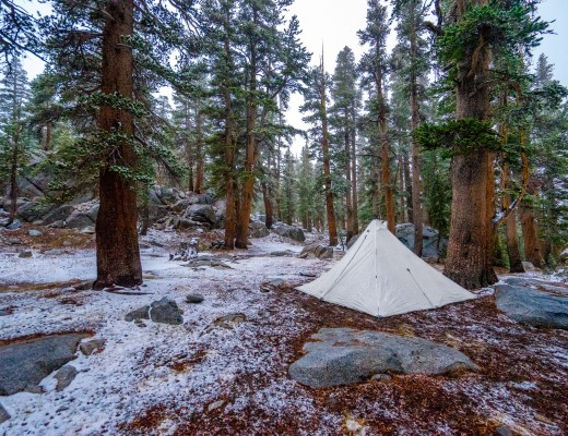 Camping in the snow below Donahue Pass on our JMT Honeymoon