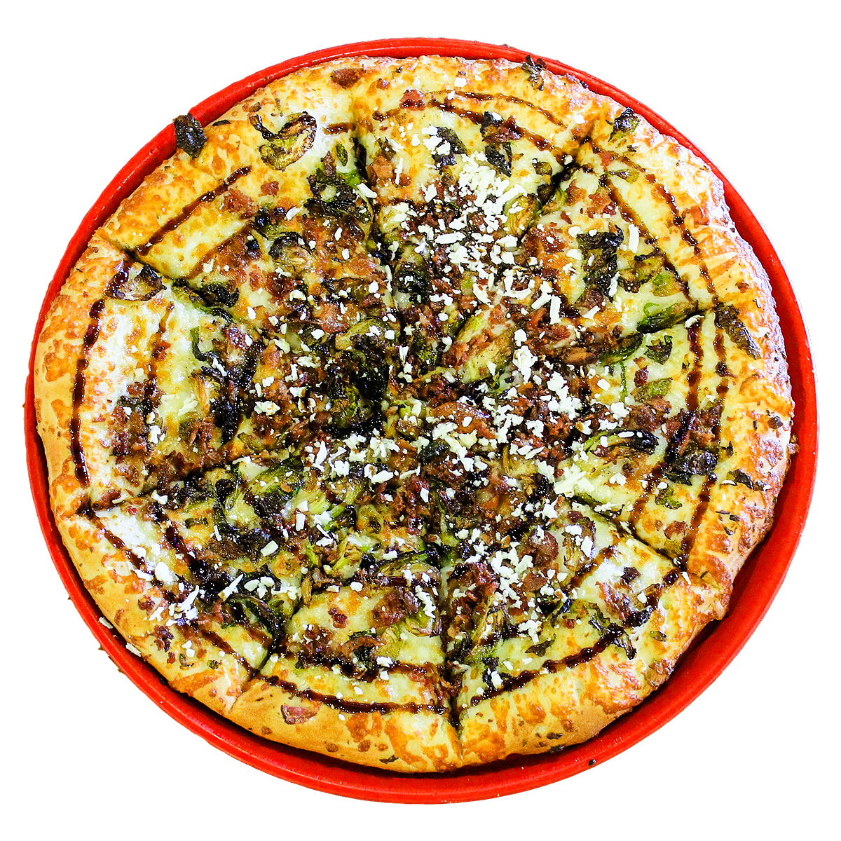 The AUGUST PIZZA OF THE MONTH has an olive oil base, mozzarella, bacon, Brussel Sprouts, topped with feta and a balsamic drizzle.
