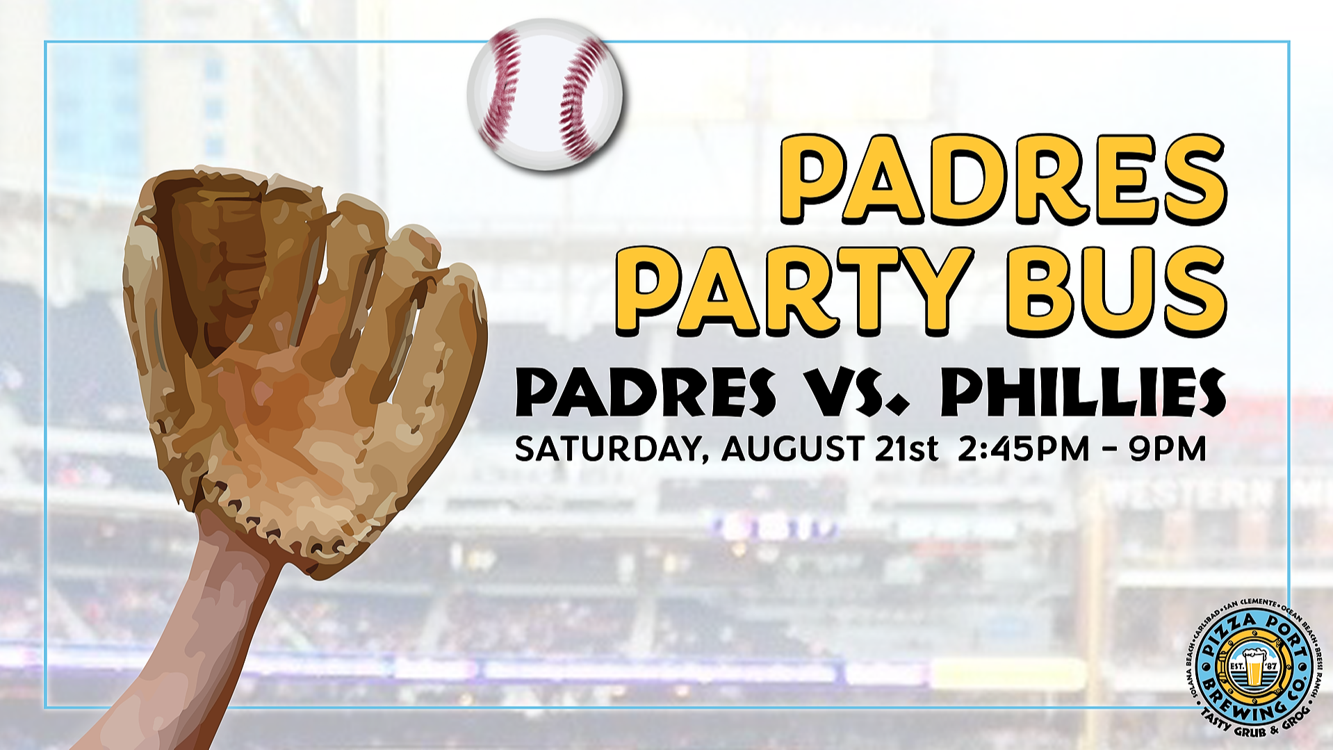 Pizza Port Padres Party Bus Phillies Vs. Padres
