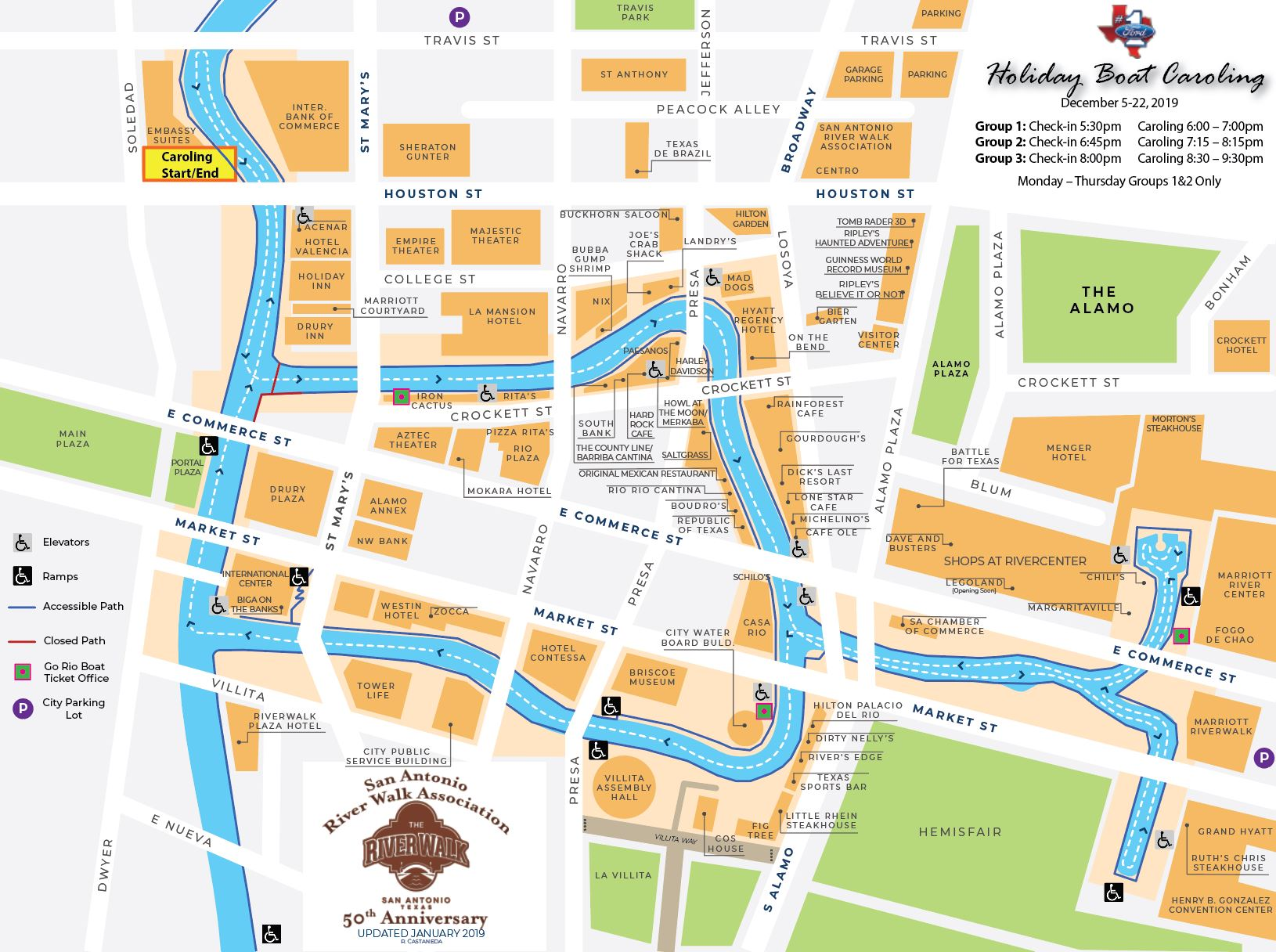 Ford Holiday Boat Caroling on san antonio restaurant map, san antonio downtown hotels map, phoenix convention center hotels map, city of san antonio map, houston hotels map, san antonio drury plaza hotel, san antonio medical center map, san antonio river map, san antonio parking map, grand hyatt san antonio map, corpus christi hotels map, alamo san antonio map, san antonio airport map, san antonio visitors map, colorado hotels map, port aransas hotels map, alamodome san antonio map, san antonio tx at night, san antonio riverwalk extension map, san antonio bay aerial map,
