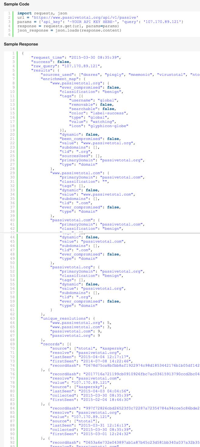 PassiveTotal API code sample