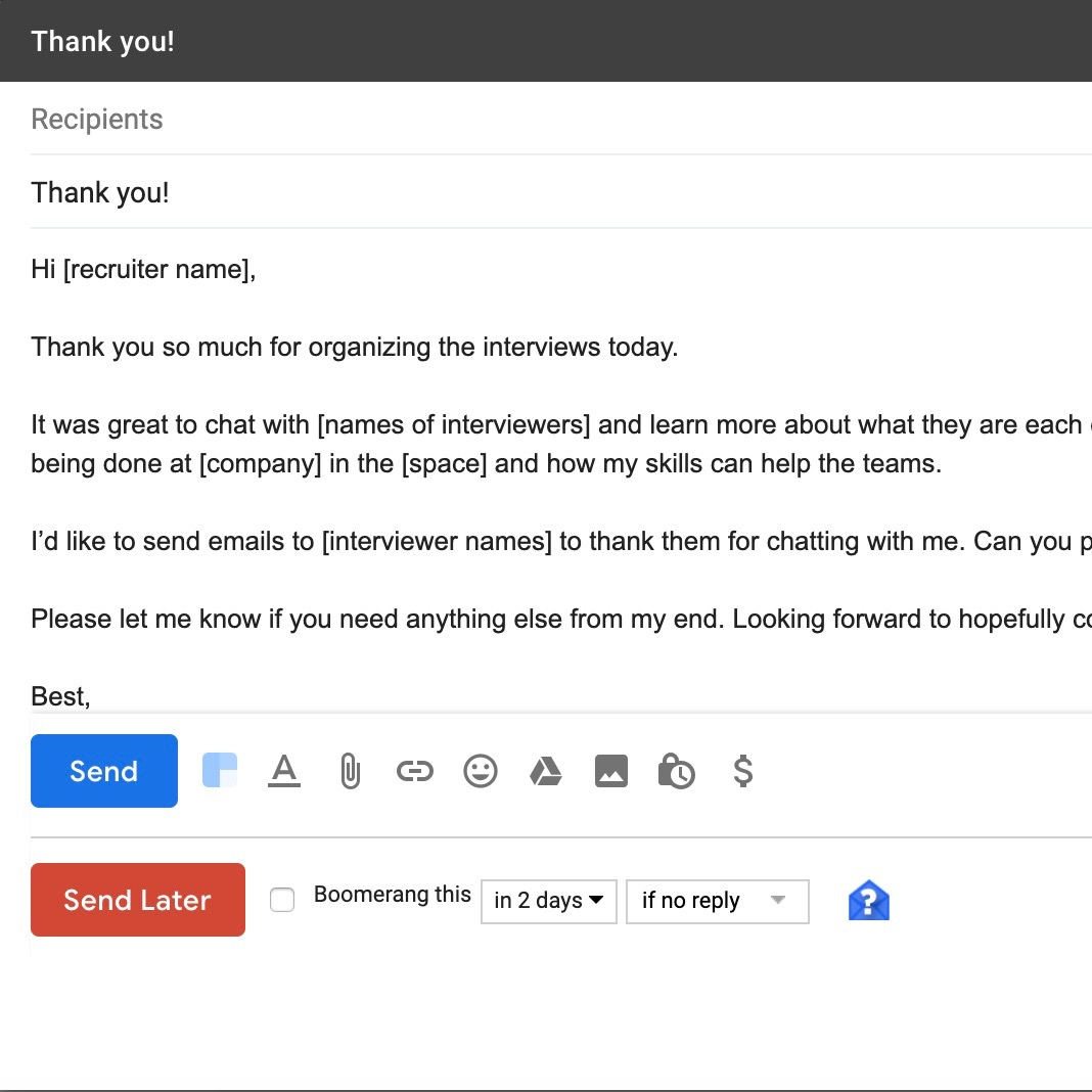 How to write good follow up emails after the interview (with email