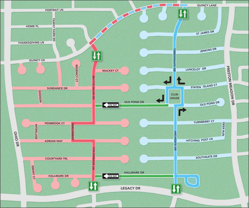 red and blue routes are suggested main thoroughfares be sure to visit side streets and cul de sacs along these routes use quincy lane or legacy drive to - Deerfield Plano Christmas Lights