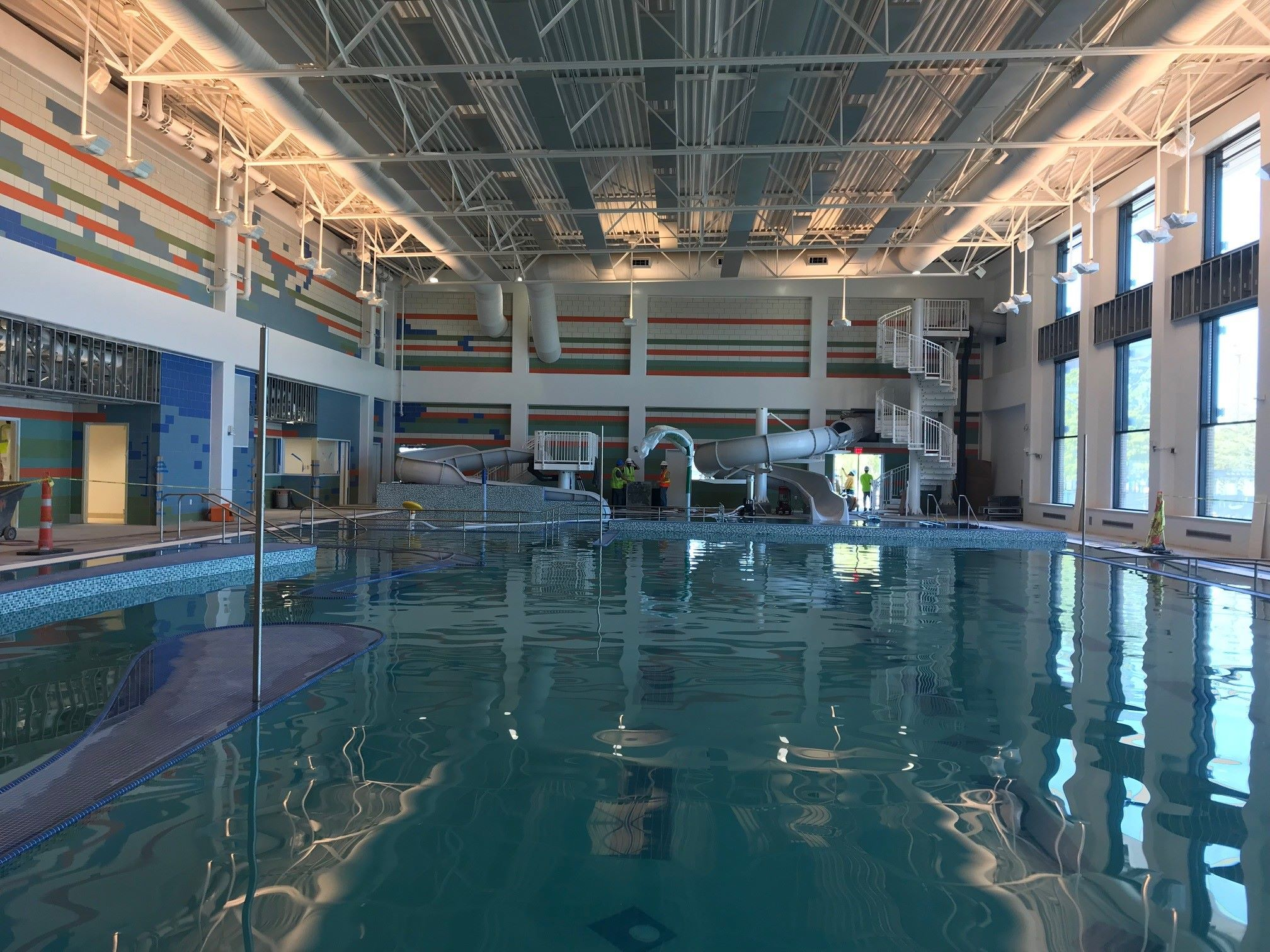 Indoor pool with slide  New pool and water slide opening at Carpenter Rec Center in Plano ...