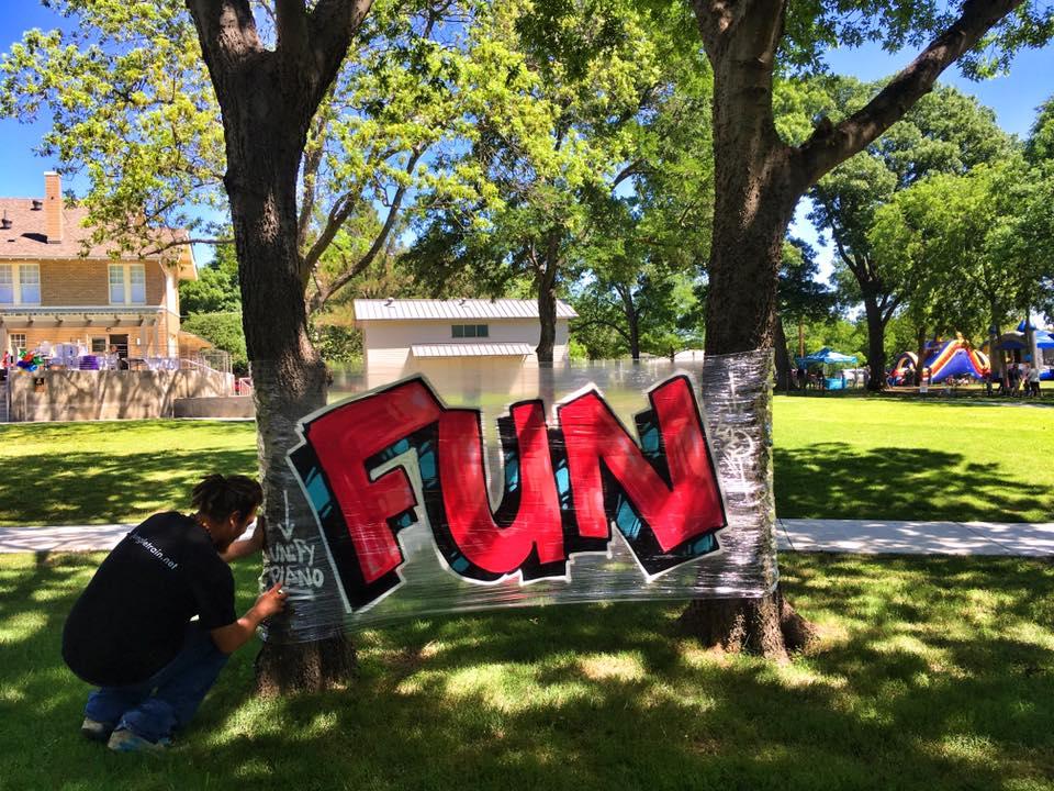 Samuel Molina, Grime Lab, Dallas, Plano, graffiti, art, artist Samuel Molina at the Plano Art Fest, Haggard Park, downtown Plano
