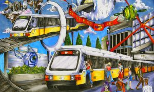 Doreen Chen, a student at Jasper High School in Plano, is this year's best of show winner in Dallas Area Rapid Transit's (DART) annual student art contest