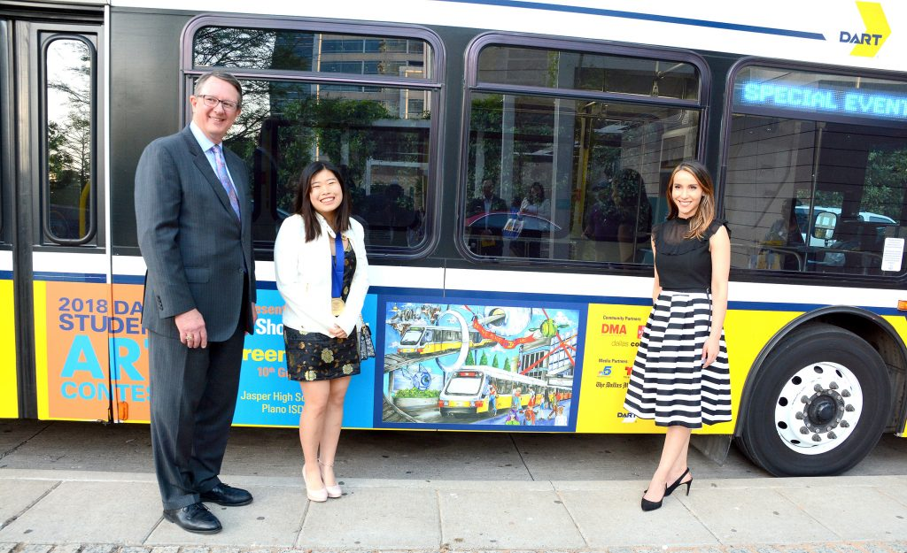 Doreen Chen, a student at Jasper High School in Plano, is this year's best of show winner in Dallas Area Rapid Transit's (DART) annual student art contest.