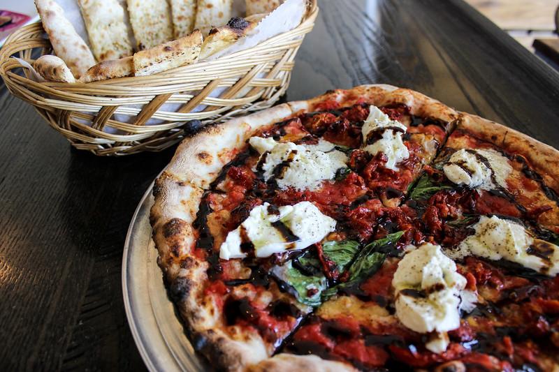 dough pizzeria, pizza, plano, burrata, cheese