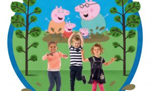 Muddy puddle jumping is one of the attractions at Peppa Pig World of Play Dallas/Fort Worth