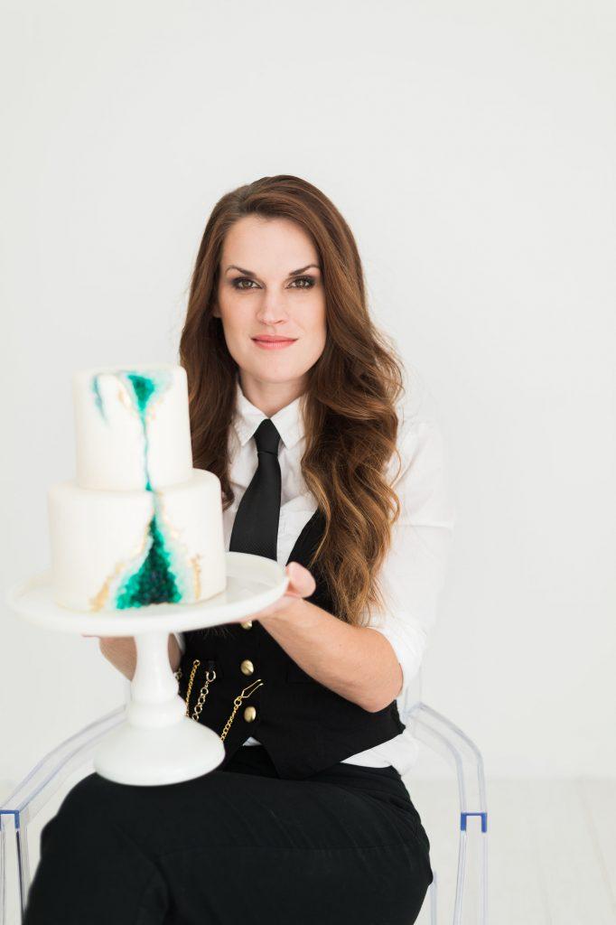 Elizabeth Rowe with a custom geode cake The London Baker