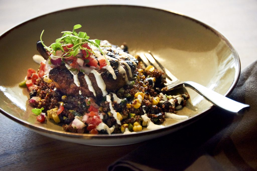Asado Chicken with crema and black beans Chef Stephan Pyles Stampede66 Allen food dinner culinary