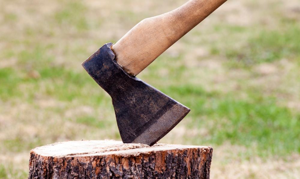 ax chopping wood