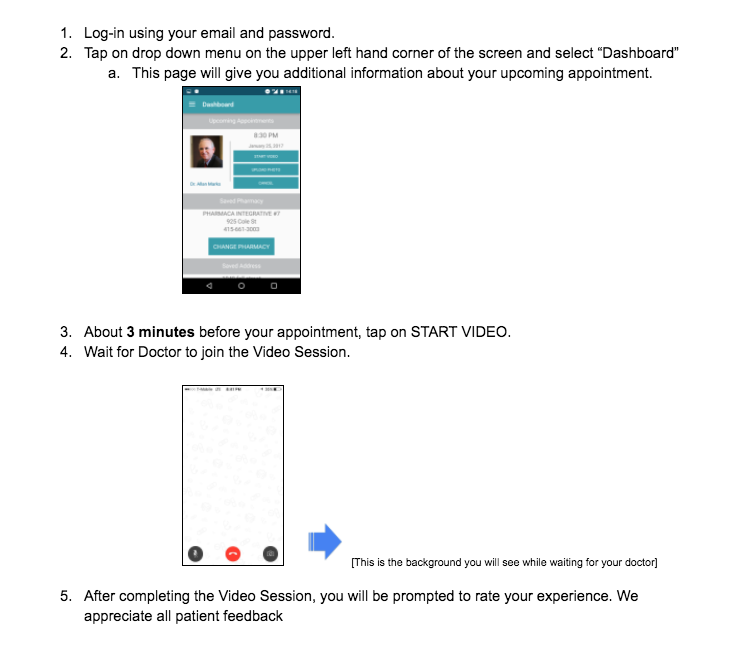 how do i enter the video session with my doctor on my android device visuals included