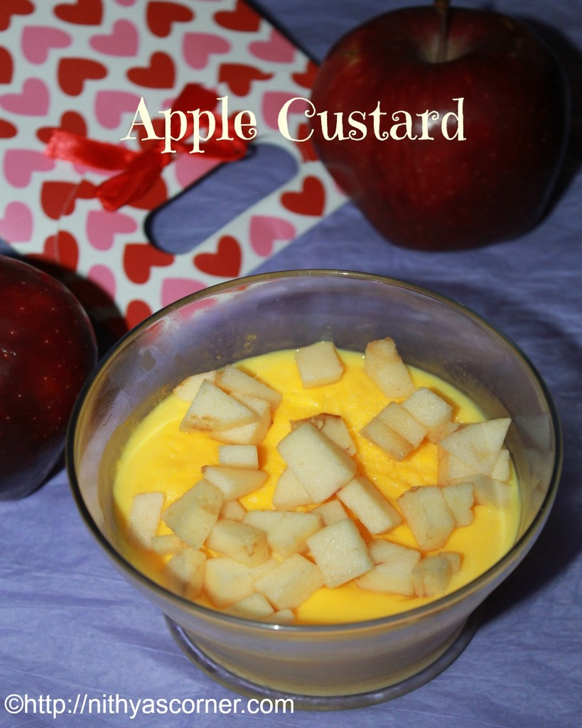 simple apple custard, eggless custard recipe