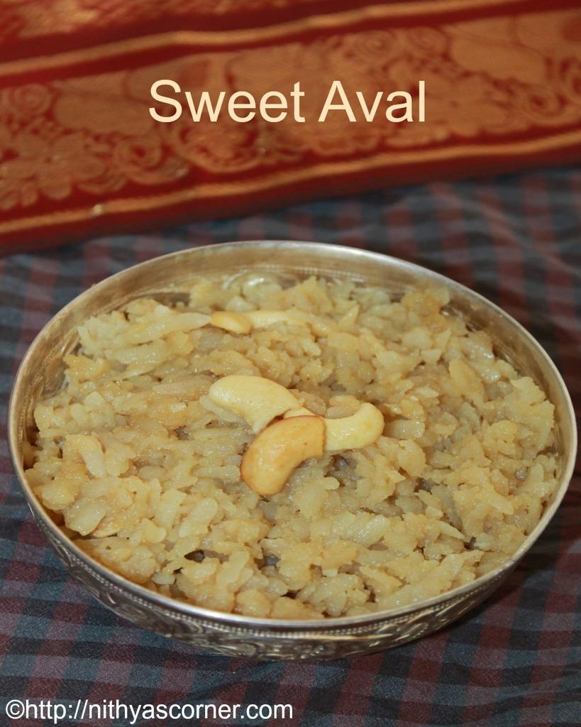 Aval jaggery recipe, poha jaggery, sweet poha
