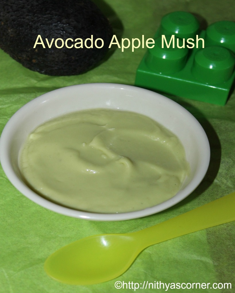 Avocado apple mush, avocado apple baby food recipe