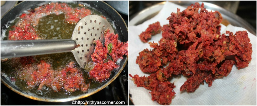 Beetroot pakora recipe, beetroot pakoda, beetroot fritters