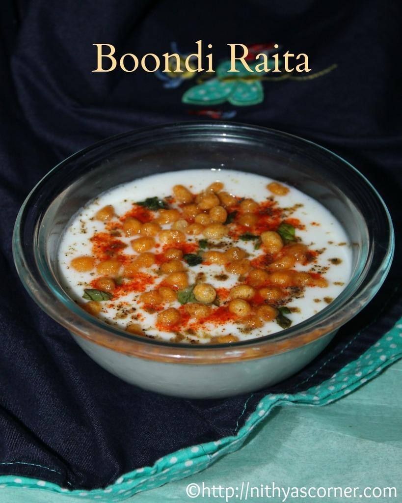 boondi raita recipe, how to make boondi raita, spiced boondi raita